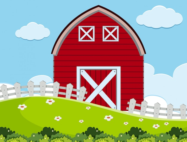 An outdoor scene with barn