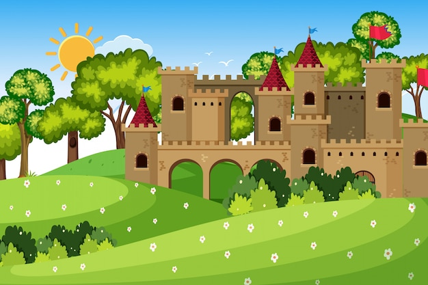An outdoor scene with castle