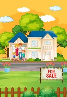판매를위한 집 앞에 서있는 가족과 함께 야외 현장