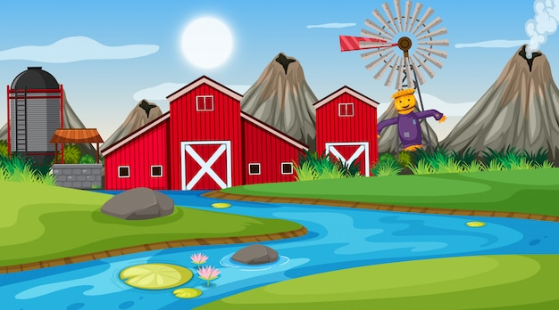 An outdoor scene with farm