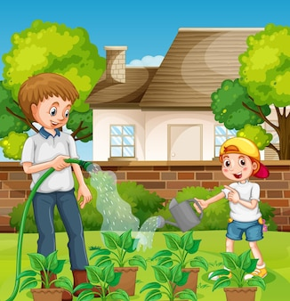 Outdoor scene with father and his son watering plant in the garden