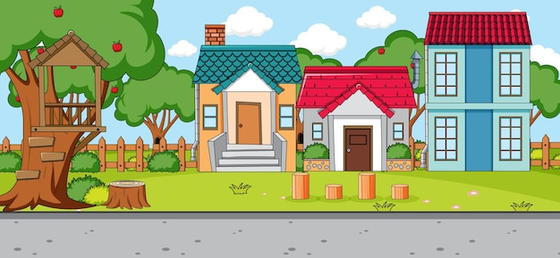 Outdoor scene with front of many houses