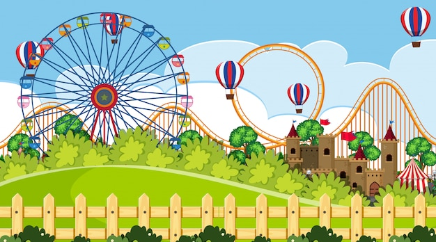 An outdoor scene with funfair