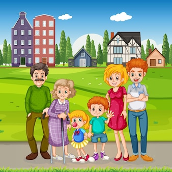 Outdoor scene with happy family