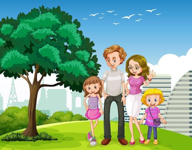 행복한 가족과 함께하는 야외 장면