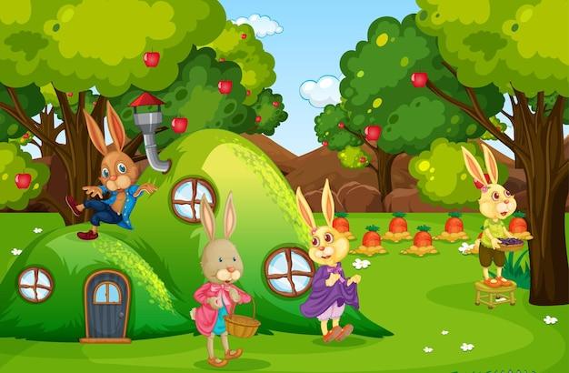 정원에서 행복한 토끼 가족과 함께하는 야외 장면