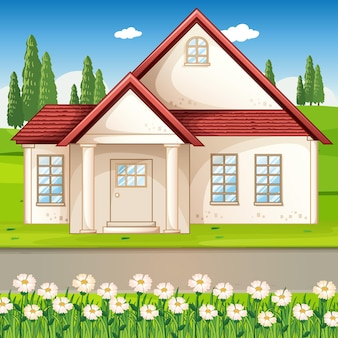 Outdoor scene with a house and flower field