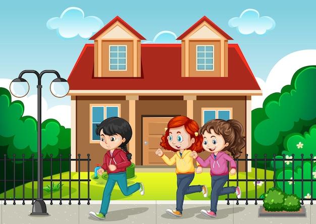 多くの子供たちが公園でジョギングしている屋外シーン