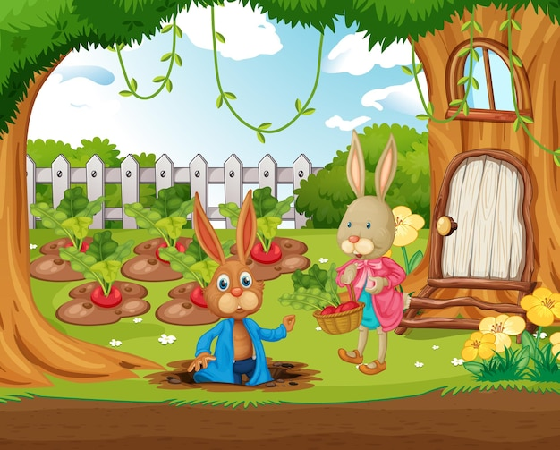 Outdoor scene with many happy rabbits in the garden