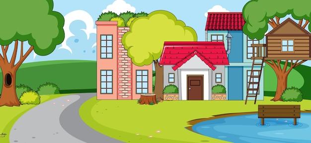 Scena all'aperto con molte case nella scena della natura