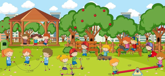 Outdoor scene with many kids playing in the park