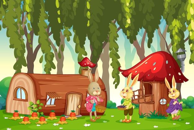 Scena all'aperto con molti personaggi dei cartoni animati di coniglio in giardino