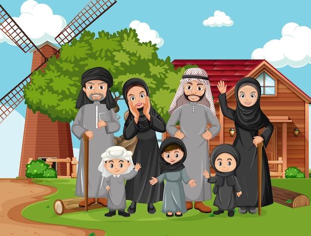Сцена на улице с членом арабской семьи