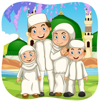 Outdoor scene with muslim family cartoon character