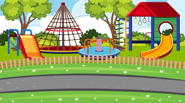 An outdoor scene with playground