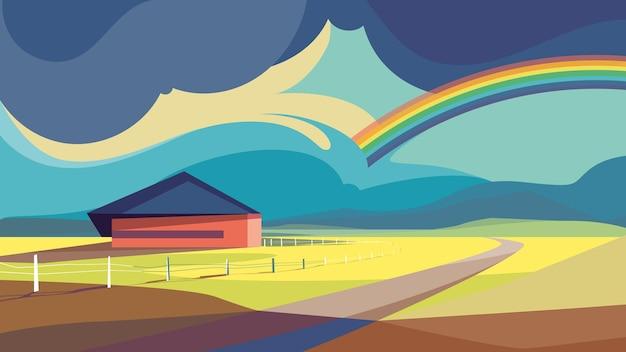 虹のある屋外シーン。美しい自然の風景。