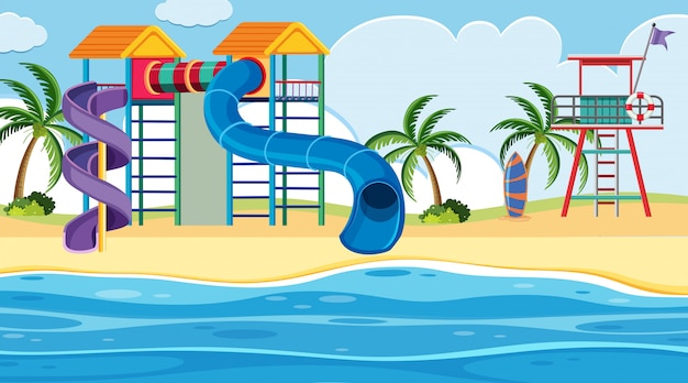 An outdoor scene with water park