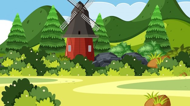 An outdoor scene with windmill