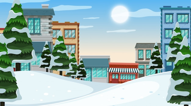 An outdoor scene with winter town