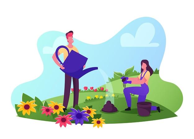 야외 계절 활동. 남성 및 여성 정원사 캐릭터는 작업 바지를 착용하고 묘목 심기 및 급수