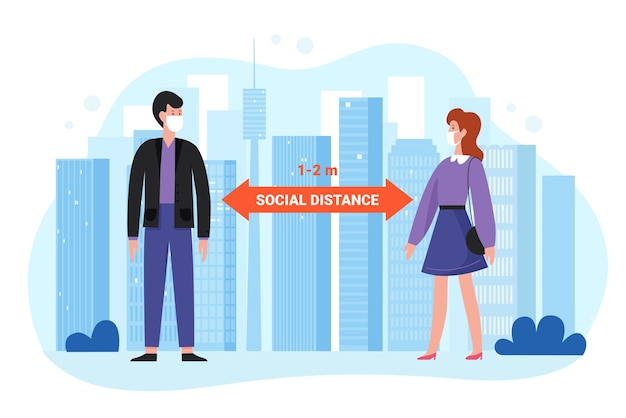 Outdoor social distance concept. man woman in protective masks distancing during coronavirus