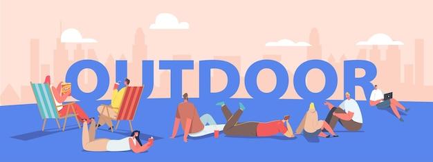 Концепция свободного времени на открытом воздухе. люди проводят время на свежем воздухе, гуляя в парке, отдыхая в шезлонге. персонажи мужского и женского пола расслабляющие деятельность плакат, баннер или флаер. векторные иллюстрации шаржа