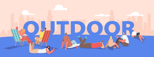 Outdoor sparetime concept. people spend time open air walking in park, relaxing on chaise longue. male and female characters relaxing activity poster, banner or flyer. cartoon vector illustration