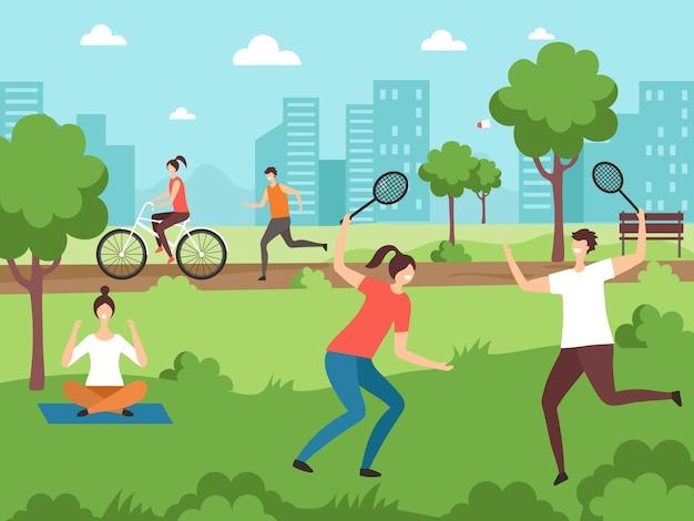 アウトドアスポーツ活動。公園の屋外カップルでいくつかの運動を行うフィットネスの人々
