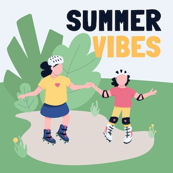 Outdoor sport activities social media post mockup. summer vibes phrase. web banner design template. kids open air fun booster, content layout with inscription.