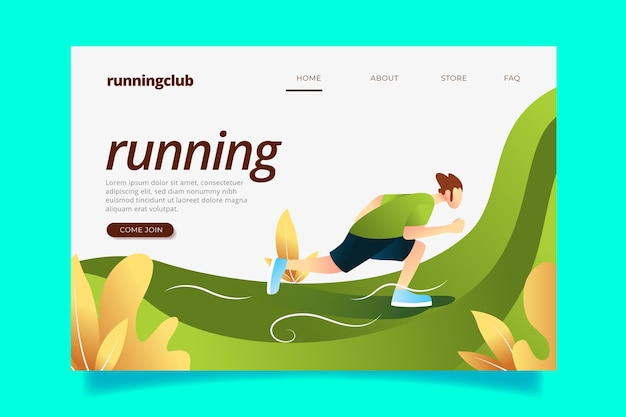 Outdoor sport flat design landing page template