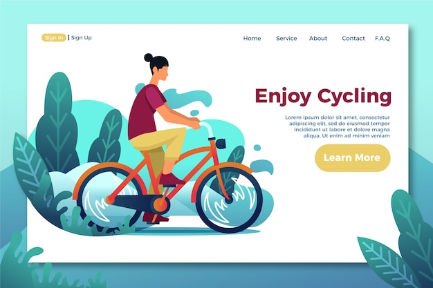 Outdoor sport flat design template landing page