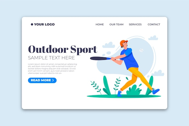 Outdoor sport landing page flat design template