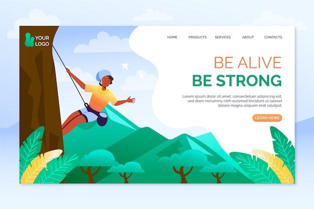 Шаблон дизайна плоской страницы для спорта на открытом воздухе