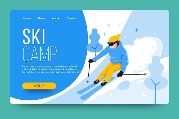 Outdoor sport landing page with illustrated skier