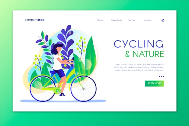 Outdoor sport landing page with illustration