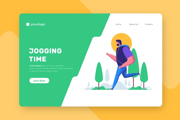 Outdoor sport landing page with man hiking