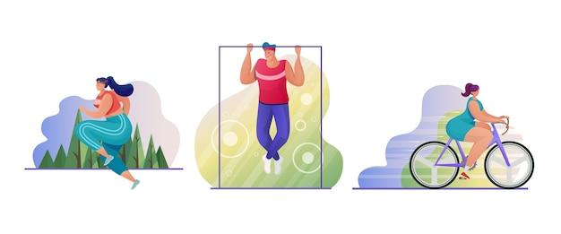 Набор для спорта на открытом воздухе. спортсмены-персонажи. бегун, бодибилдер, велосипедист. люди делают упражнения и тренируются. езда на велосипеде, кардио, фитнес. активный образ жизни