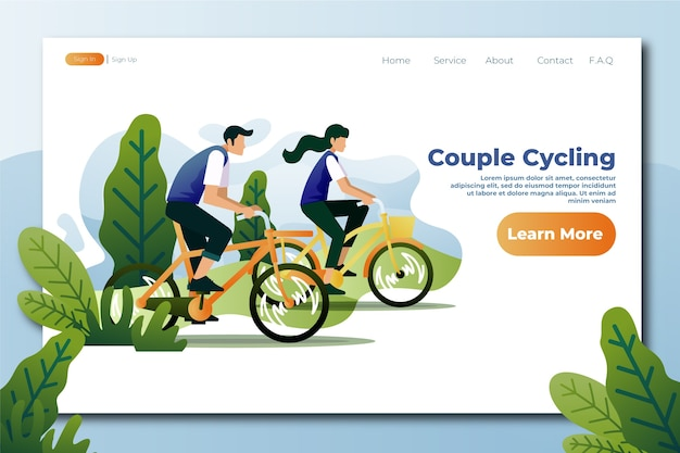 Outdoor sport template  flat design landing page