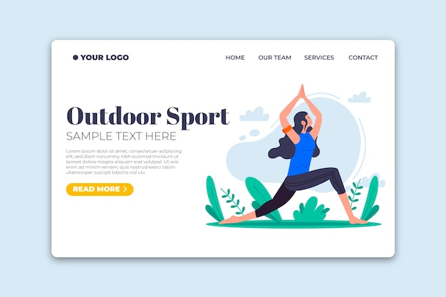 Outdoor sport template landing page flat design