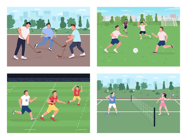 Outdoor sports match flat color  set. people play soccer. hockey field. football team. urban park for physical activity 2d cartoon landscape with skyline on background collection