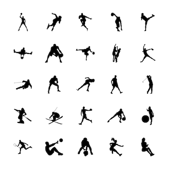 Outdoor sports silhouettes icons pack
