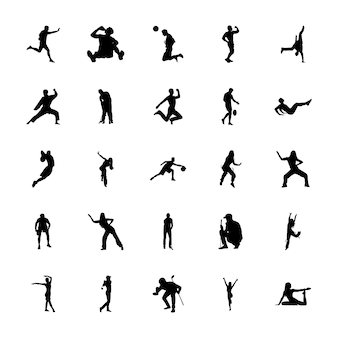 Outdoor sports silhouettes vectors set