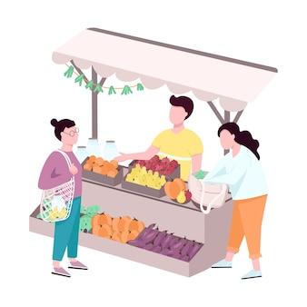 Открытый уличный фермерский рынок плоский дизайн безликих персонажей