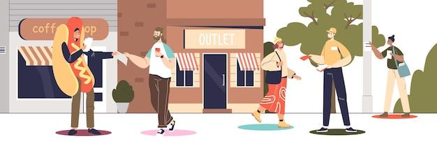 屋外ストリートプロモーション:衣装を着たプロモーターが人々にチラシを配り、公園の柱にポスターを貼り付けて、顧客や訪問者を引き付けます。漫画フラットベクトルイラスト
