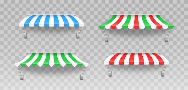 다양한 형태의 카페 및 상점 창을위한 야외 줄무늬 천막 캐노피. 레스토랑 용 차양. 시장을위한 천막 우산, 상점 그림을위한 줄무늬 여름 가리비.