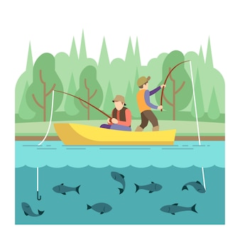 Outdoor summer activities. fishing sport vector concept. summer vacation fishing, illustration outdo