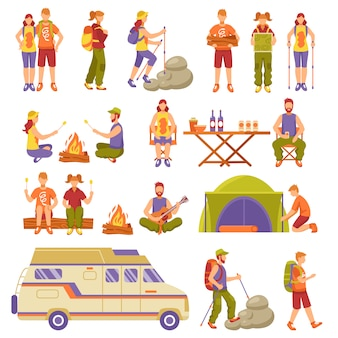Outdoor summer travel icons set