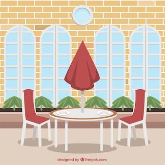 Tavolo per esterno per due, scena del ristorante