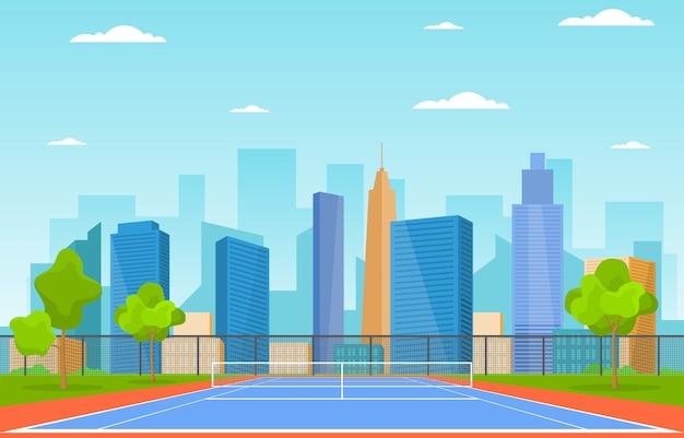 Открытый теннисный корт спорт игры отдых мультфильм городской пейзаж Premium векторы
