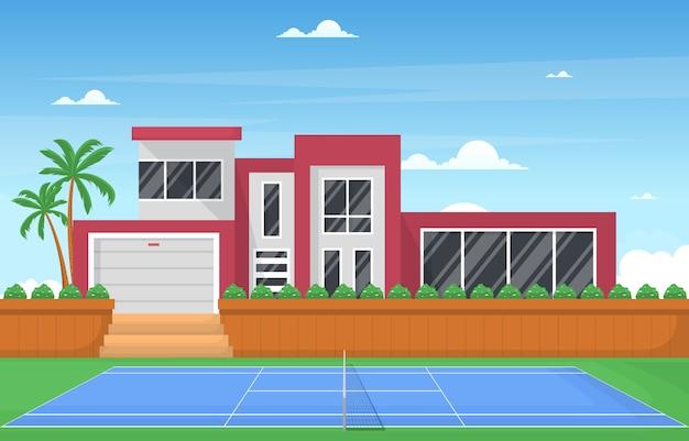 야외 테니스 코트 스포츠 게임 레크리에이션 만화 빌라 집 풍경